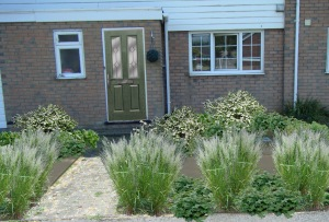 boring front, cream planting green door