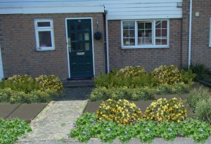 boring front with yellow planting